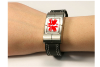Metal and Leather Emergency Medical Records Bracelet